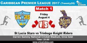St Lucia Stars  VS Trinbago Knight Riders  05 08 17  5:00AM