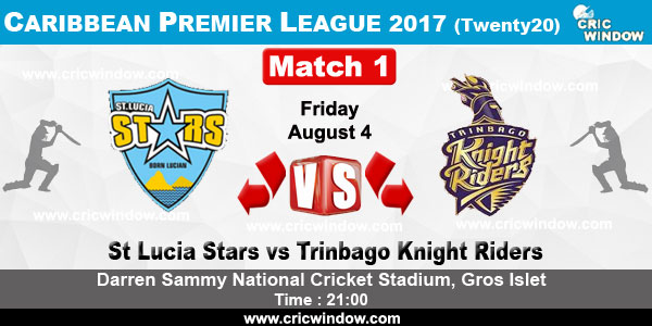 St Lucia Stars VS Trinbago Knight Riders 05 08 17 5:00AM