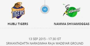 Hubli Tigers VS Namma Shivamogga 08 09 17 07:30PM