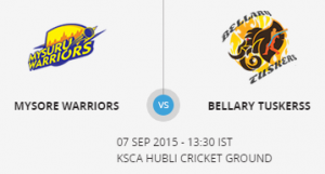 Bellary Tuskers VS Mysuru Warriors 10 09 17 06:40PM